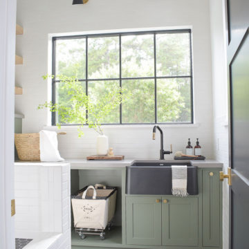 zdesign at home black white with green cabinets laundry room reveal and tour