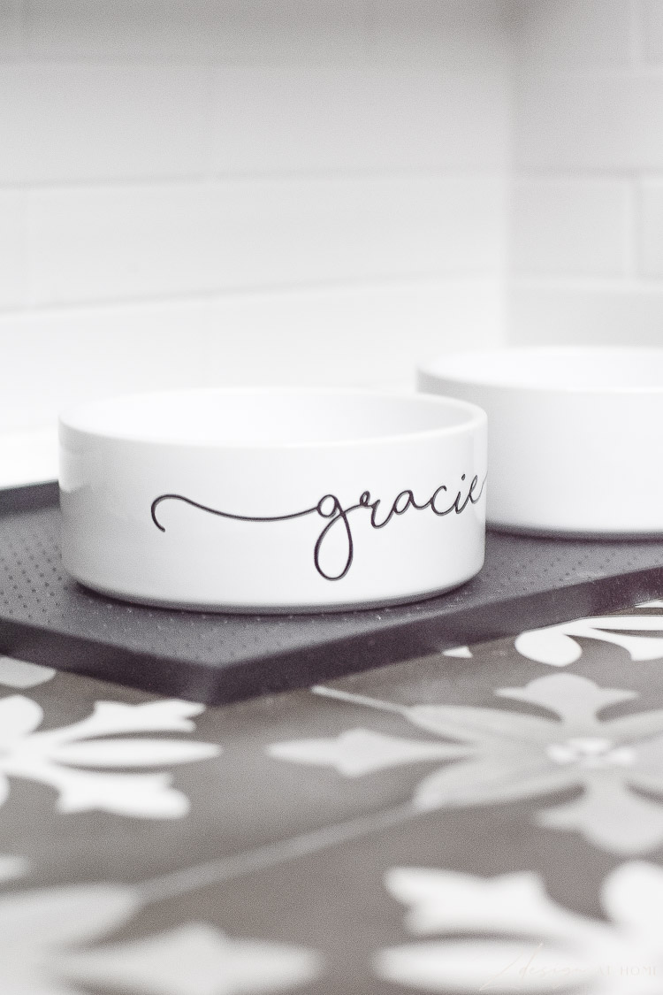 pet dog bowl white with cursive font in black