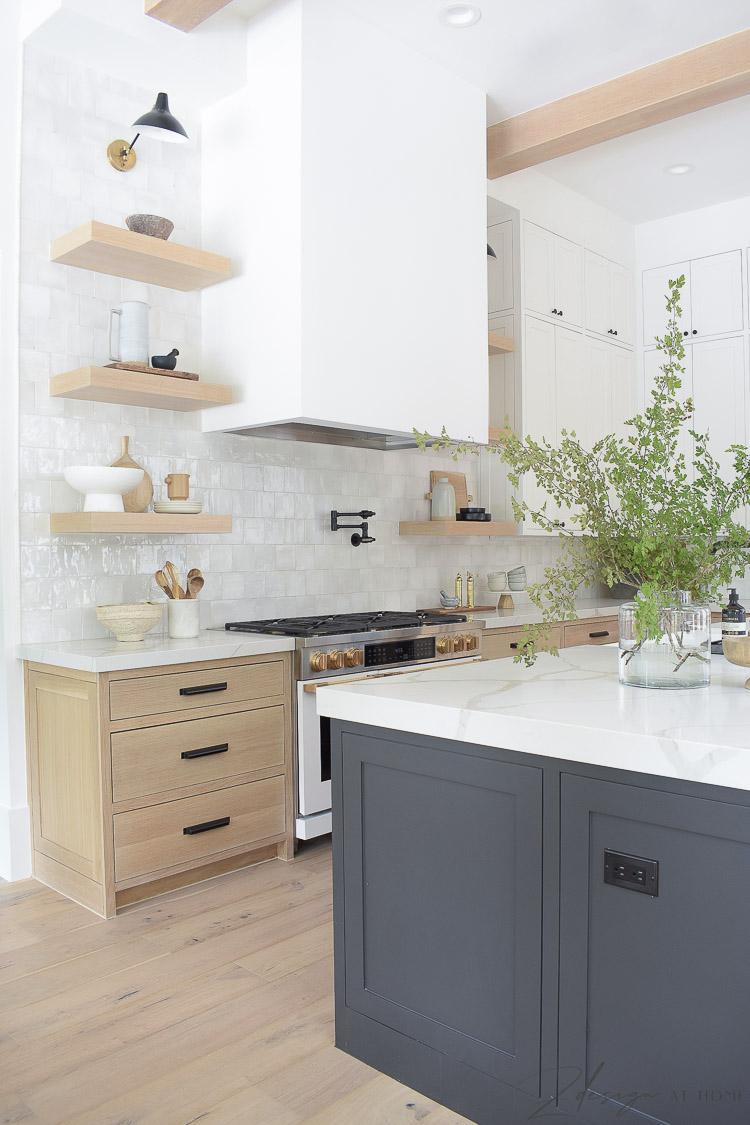 white sheetrock hood in modern farmhouse kitchen - 3 cabinet colors