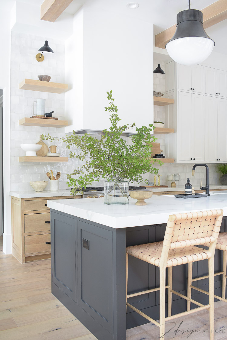 ZDesign At Home Kitchen - black, white, white oak modern farmhouse kitchen with 3 cabinet colors