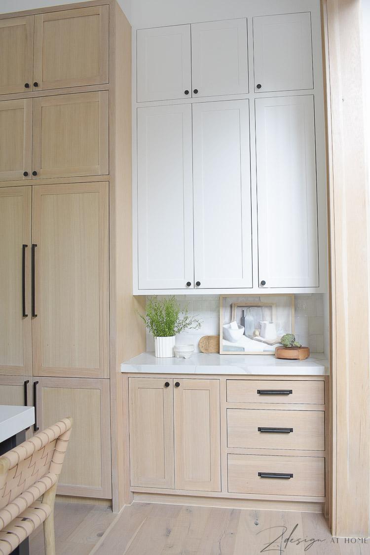 modern farmhouse kitchen - white paint and white oak cabinets