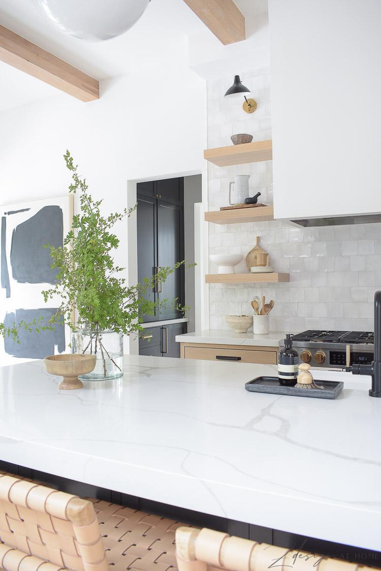 white oak open shelves in modern farmhouse kitchen
