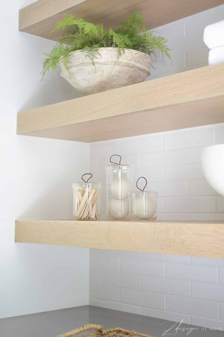 """how to style laundry room shelves - white oak 3"""" shelves"""