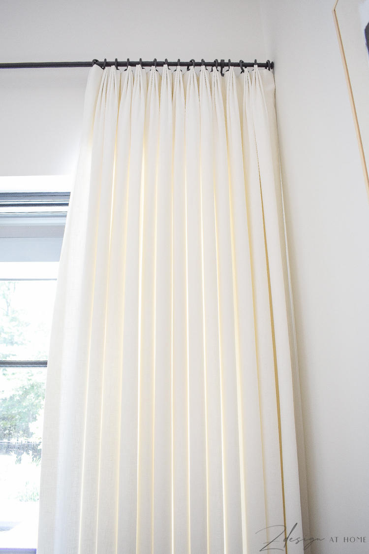 custom white linen curtains in 3-finger pinch please style