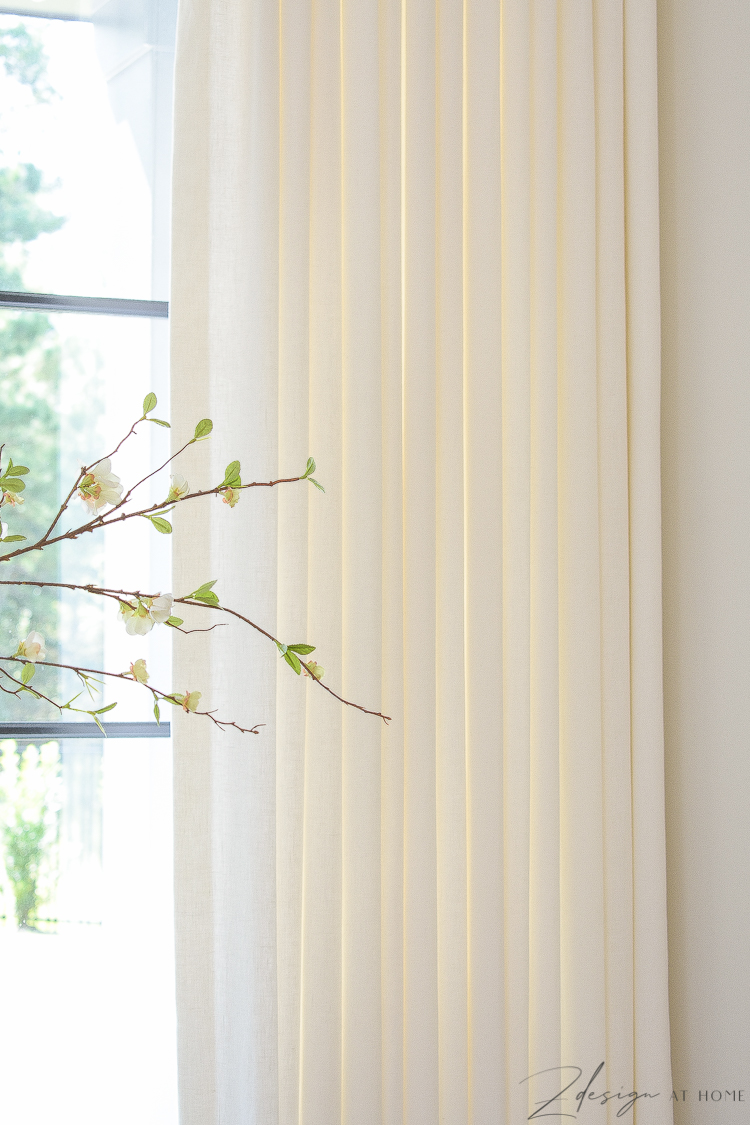 custom made white linen curtains with privacy lining and interlining