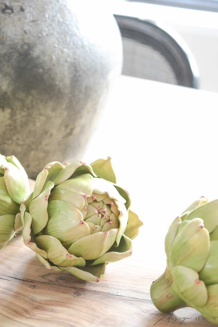 best faux artichokes styled on dining table