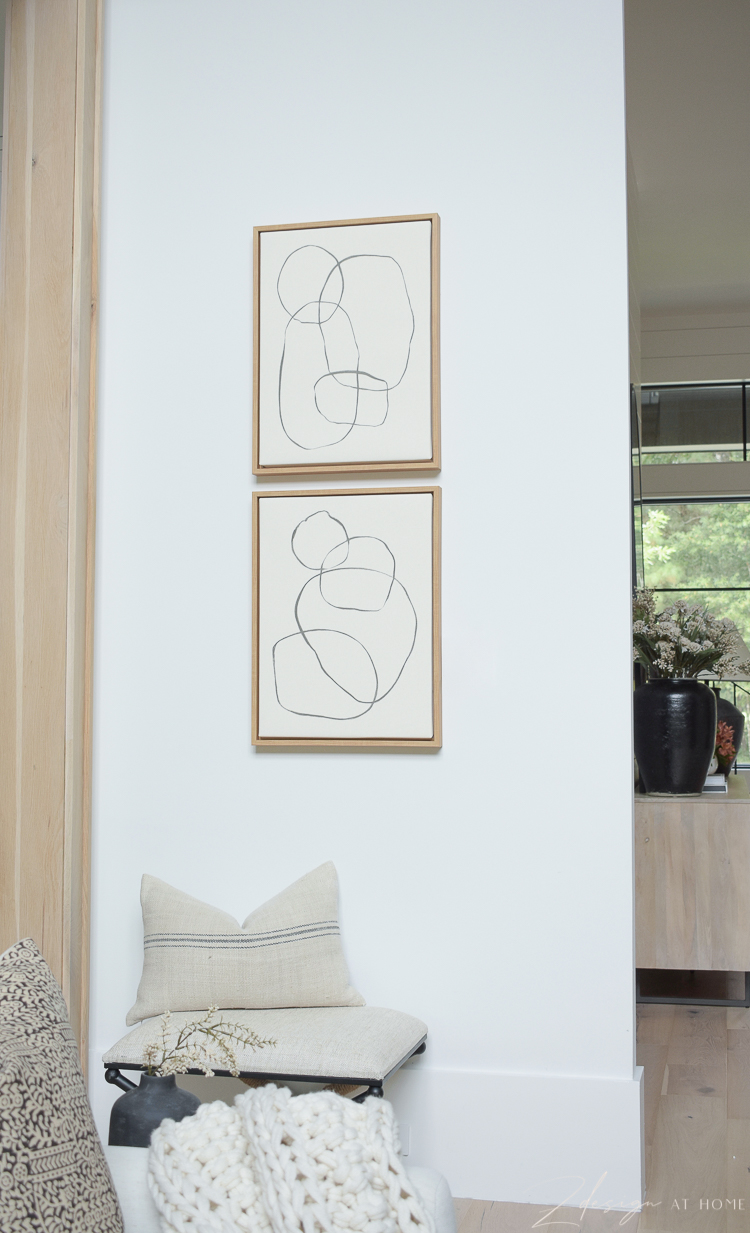 modern circles art with from walmart home - on canvas with white oak frame
