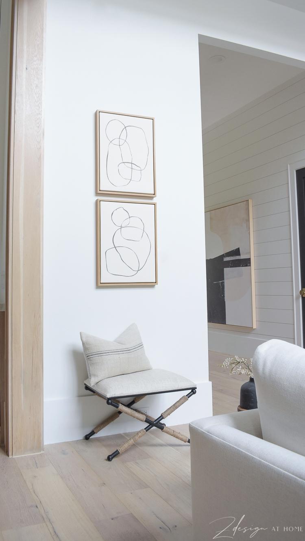 modern circles art with x bench below from walmart home