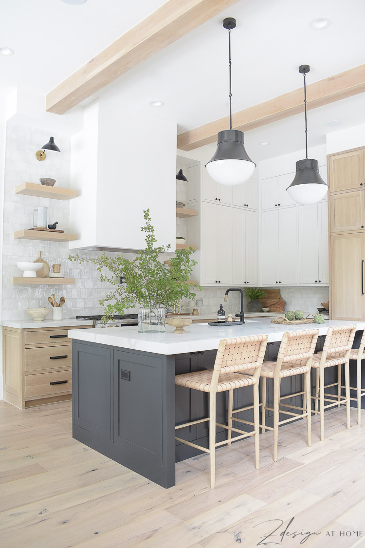 modern farmhouse kitchen with 3 cabinet colors - white oak, sw snowbound and black island