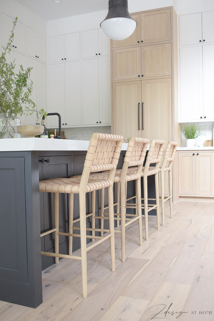 review of mcgee and co greely counter stool - leather lattice barstools in blonde and white oak