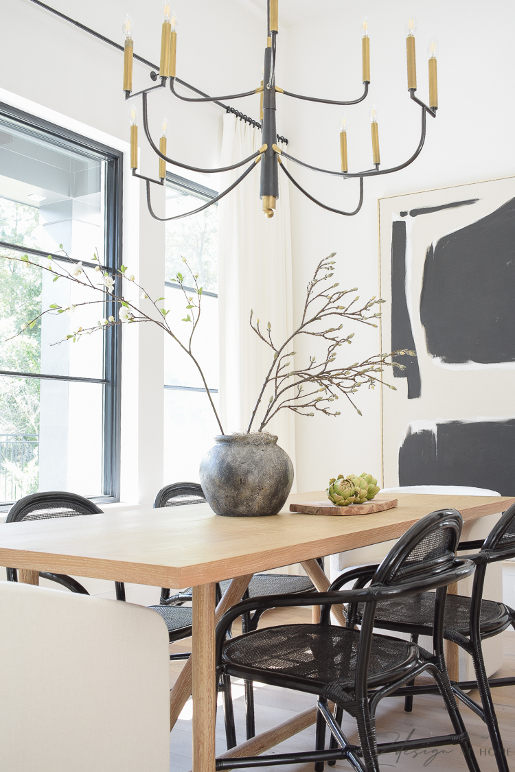 modern black and white farmhouse dining room themed in black and white