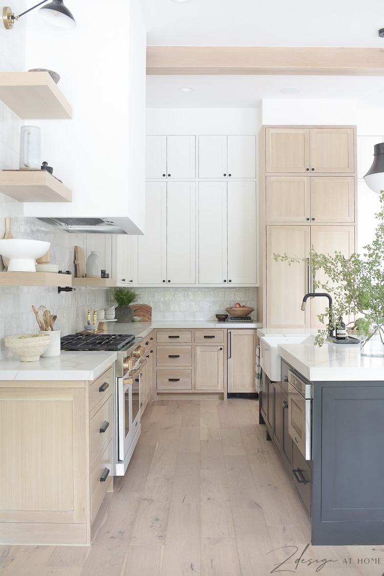 modern farmhouse kitchen with 3 cabinet colors - white, black, white oak