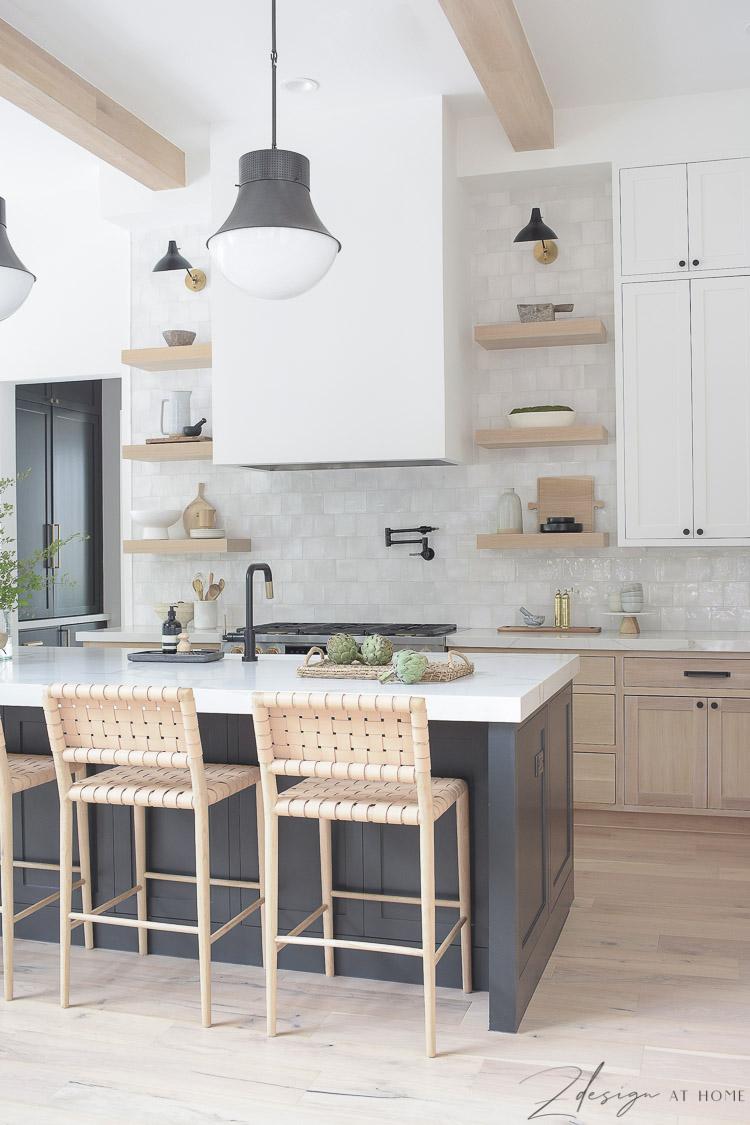 modern farmhouse kitchen with white oak open shelves