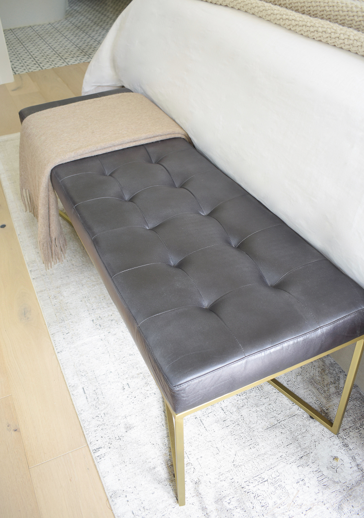 black leather tufted bench for end of bed
