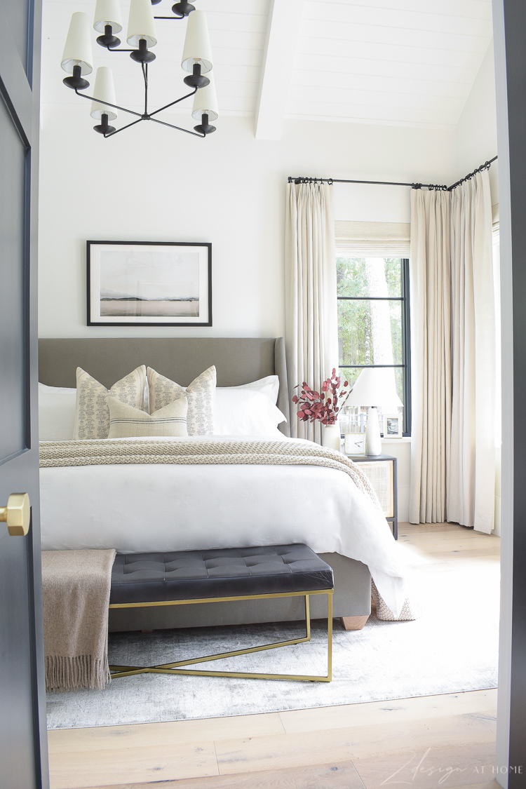 transitional modern gorgeous bedroom with black leather bench from walmart home