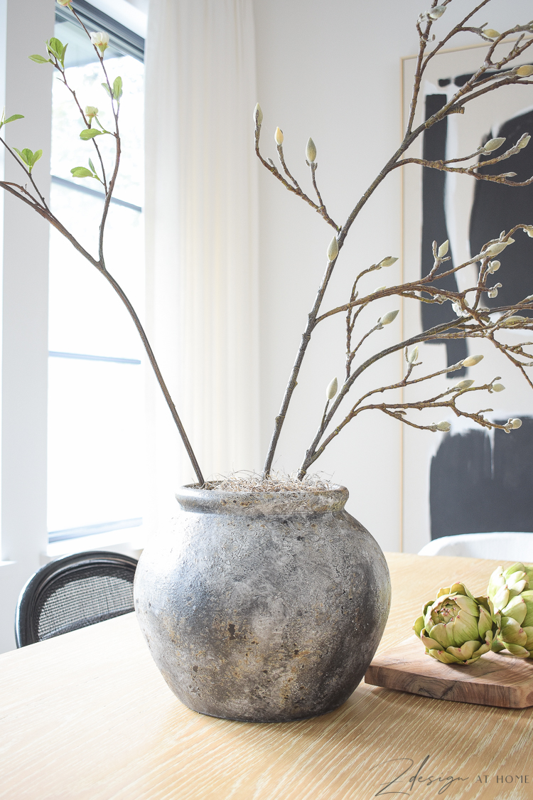 terra-cotta clay jar in gray - dining table center piece
