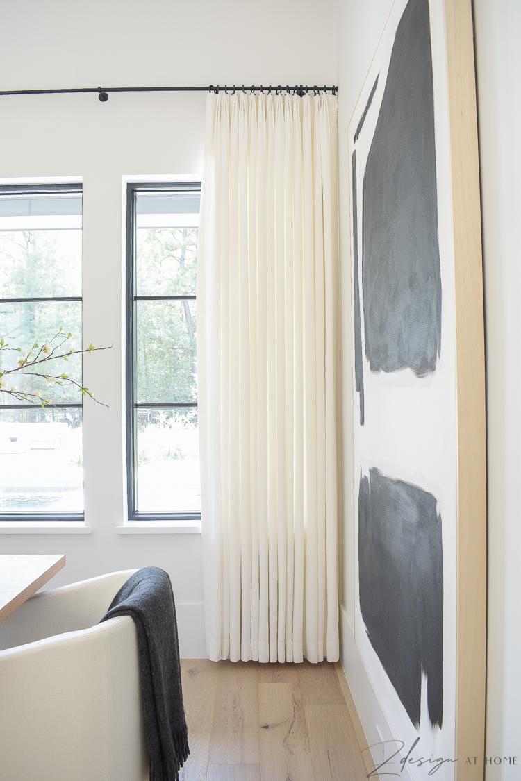 Custom made white linen drapes