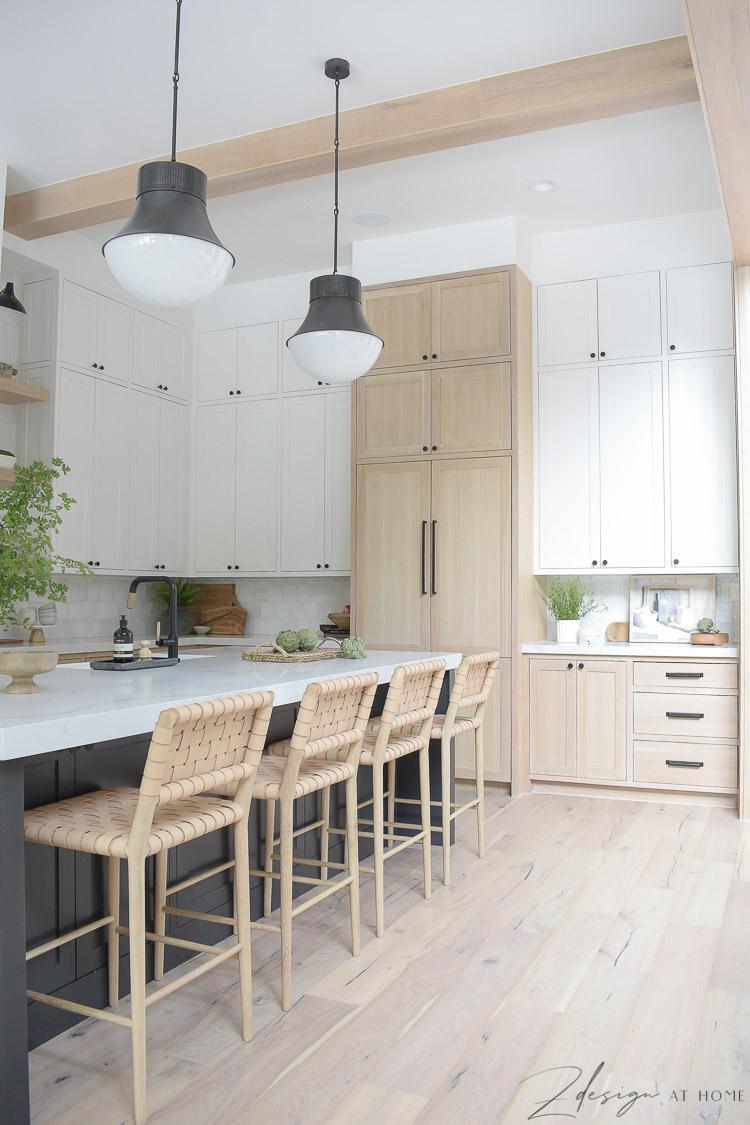 modern farmhouse kitchen white white oak cabinets and panel ready fridge