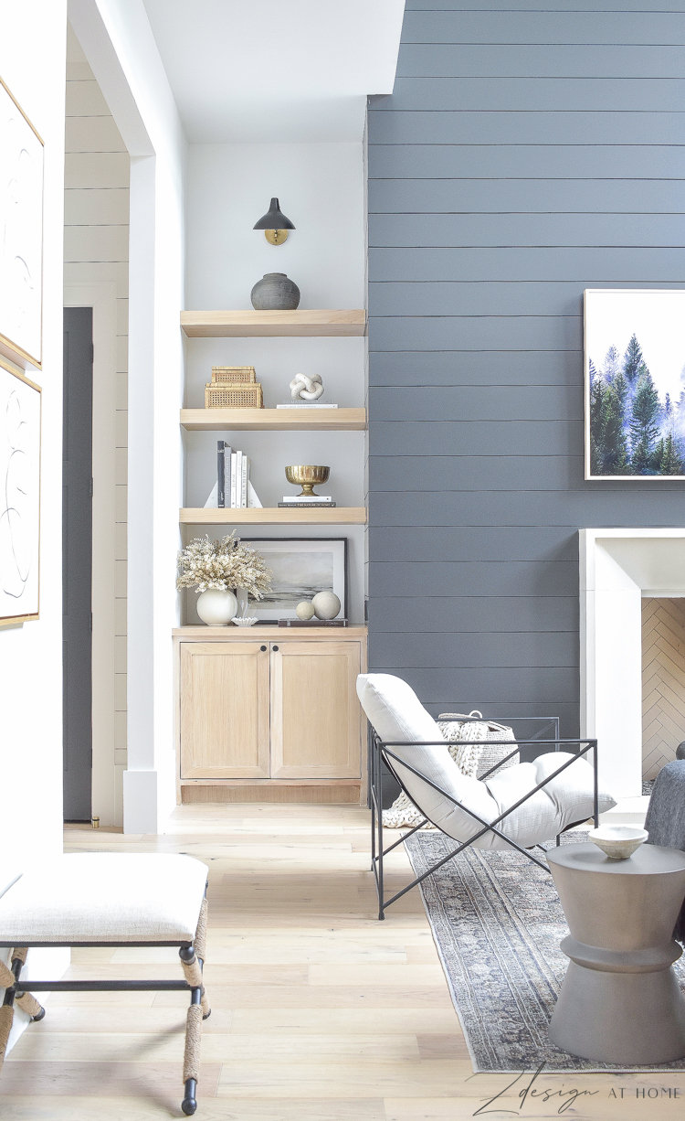 white oak shelves styled with fall decor