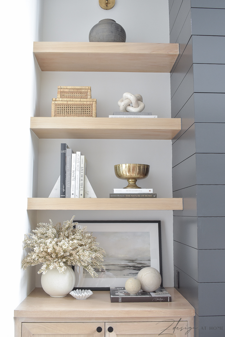 white oak shelves styled with neutral fall decor