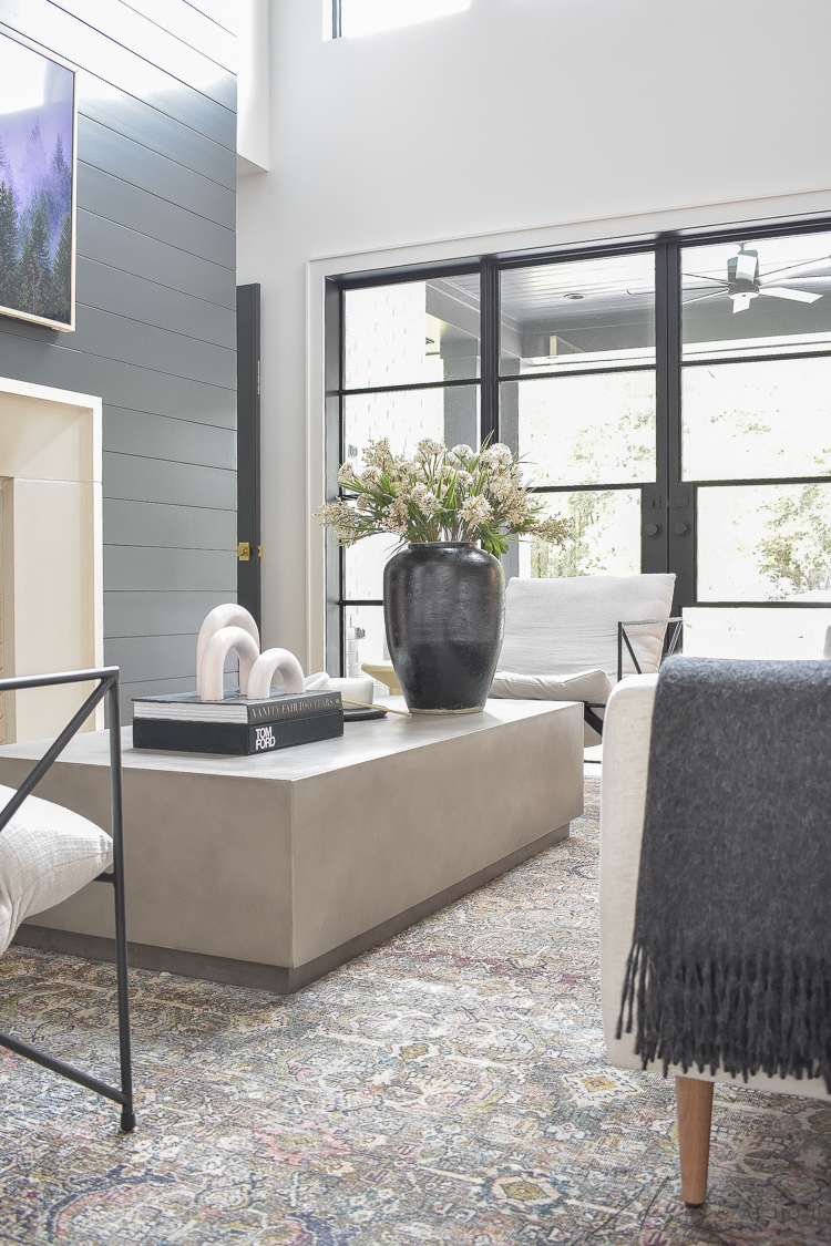 modern concrete coffee table styled with fall updates