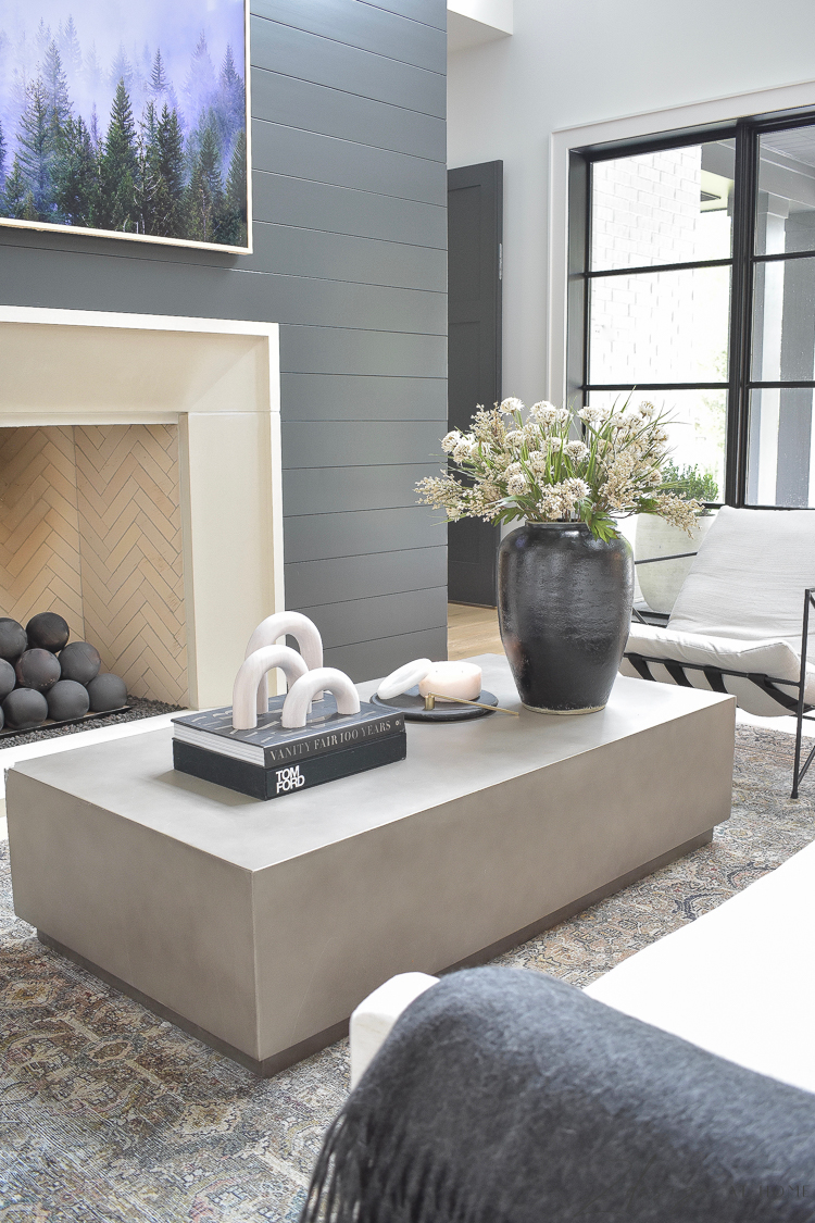 concrete coffee table styled for fall in neutral fall decor