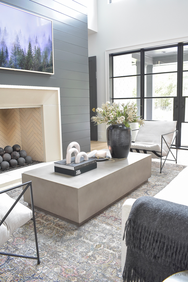 concrete coffee table styled with modern fall updates