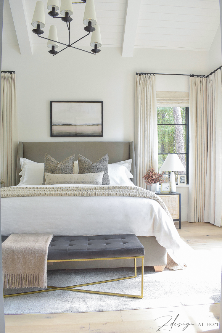 transitional modern farmhouse bedroom with tongue and groove ceilings