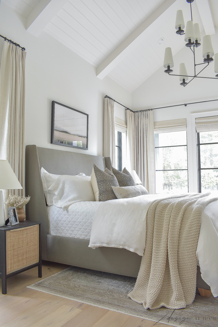 transitional modern farmhouse bedroom with tongue and groove ceilings - fall bedroom decor