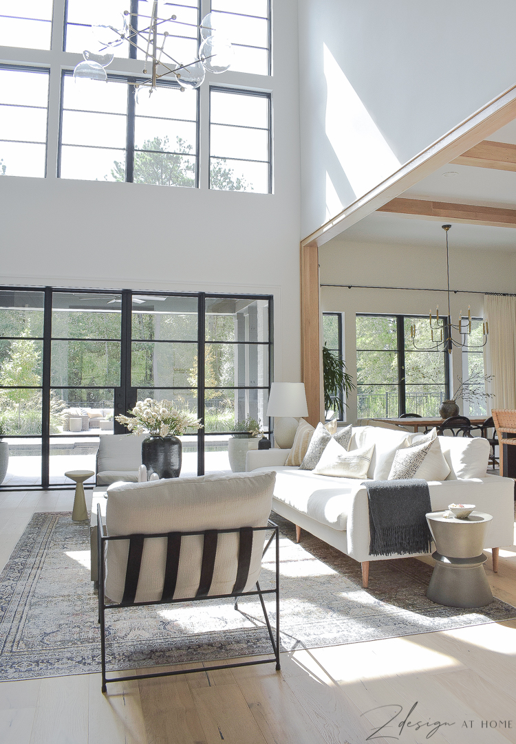 transitional living room styled with fall updates