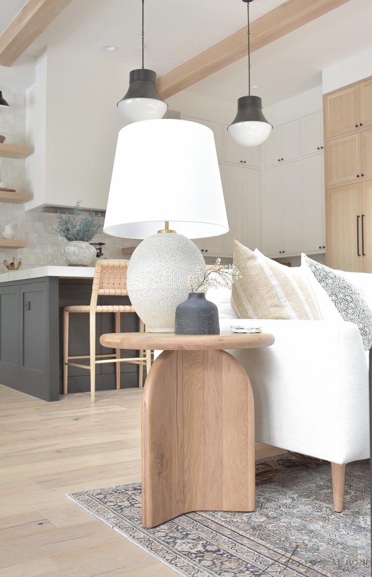 white oak side table - loiloi olive charcoal rug